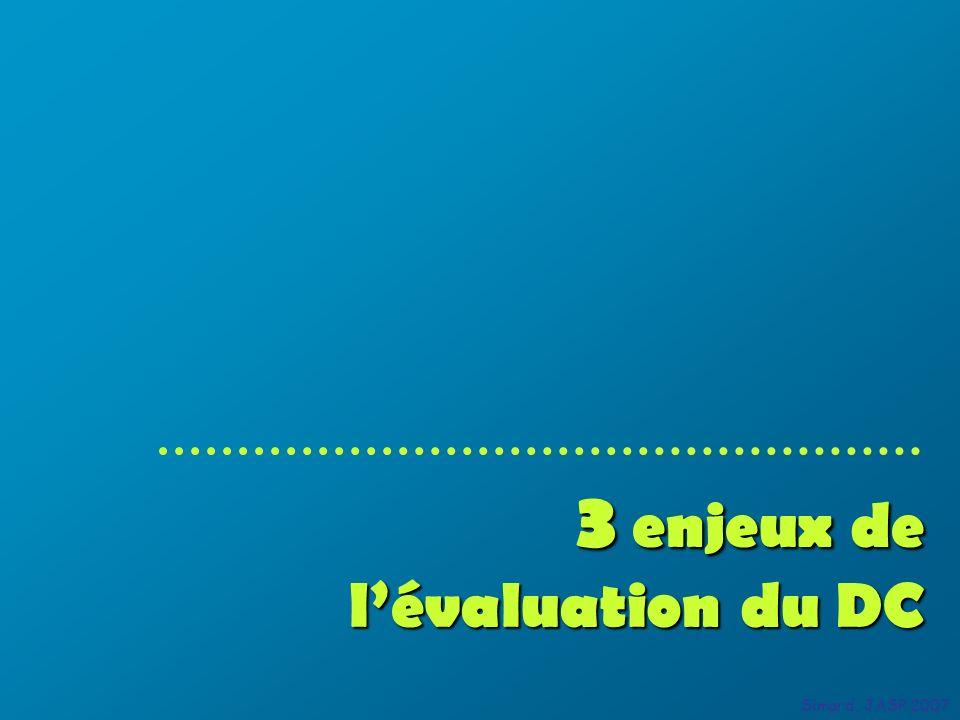 3 enjeux de lévaluation du DC Simard, JASP 2007