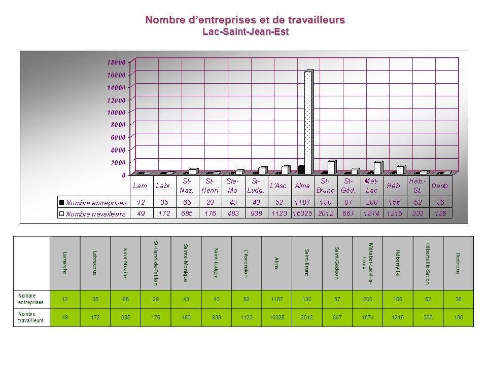 Nombre dentreprises et de travailleurs Lac-Saint-Jean-Est Lamarche Labrecque Saint-Nazaire St-Henri-de-Taillon Sainte-Monique Saint-Ludger LAscension Alma Saint-Bruno Saint-Gédéon Métabet-Lac-à-la- Croix Hébertville Hébertville-Sation Desbiens Nombre entreprises 123565294340521187130872001565236 Nombre travailleurs 49172685176483938112316325201266718741215333186