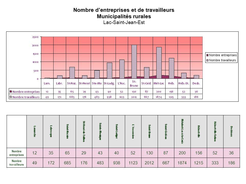 Nombre dentreprises et de travailleurs Municipalités rurales Lac-Saint-Jean-Est Lamarche Labrecque Saint-Nazaire St-Henri-de-Taillon Sainte-Monique Saint-Ludger LAscension Saint-Bruno Saint-Gédéon Métabet-Lac-à-la-Croix Hébertville Hébertville-Sation Desbiens Nombre entreprises 12356529434052130872001565236 Nombre travailleurs 491726851764839381123201266718741215333186