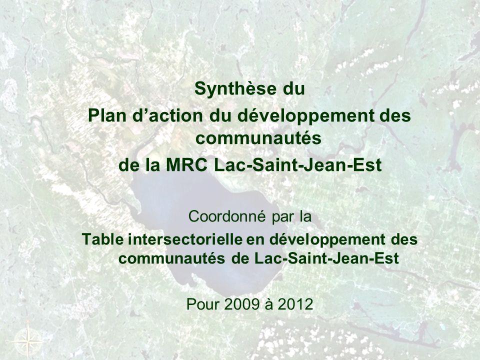 Synthèse du Plan daction du développement des communautés de la MRC Lac-Saint-Jean-Est Coordonné par la Table intersectorielle en développement des communautés de Lac-Saint-Jean-Est Pour 2009 à 2012