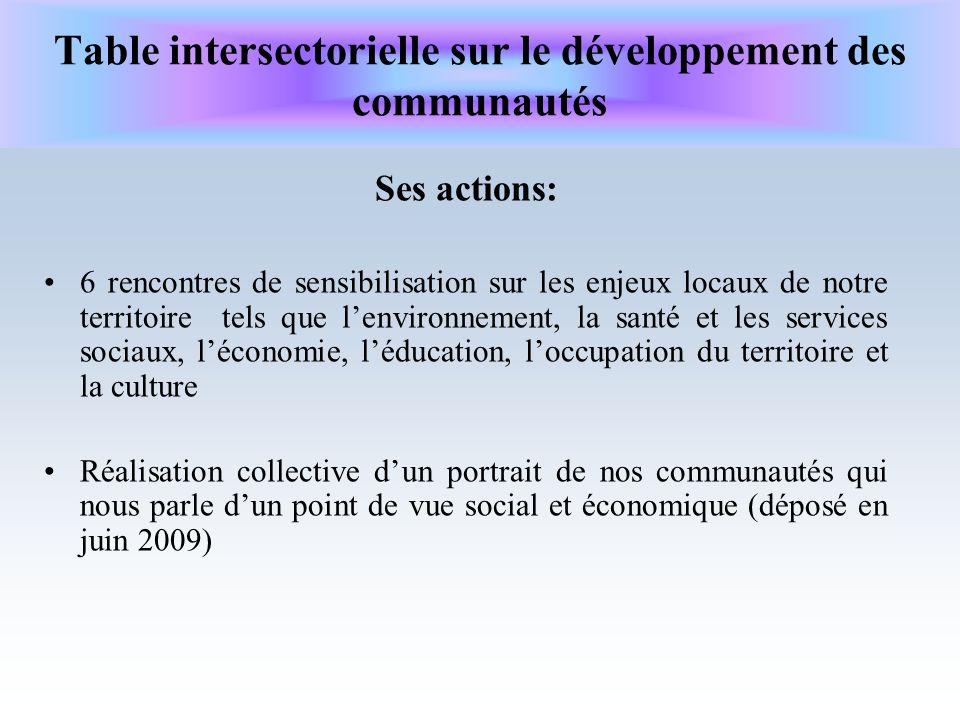 Table intersectorielle sur le développement des communautés Ses actions: 6 rencontres de sensibilisation sur les enjeux locaux de notre territoire tel