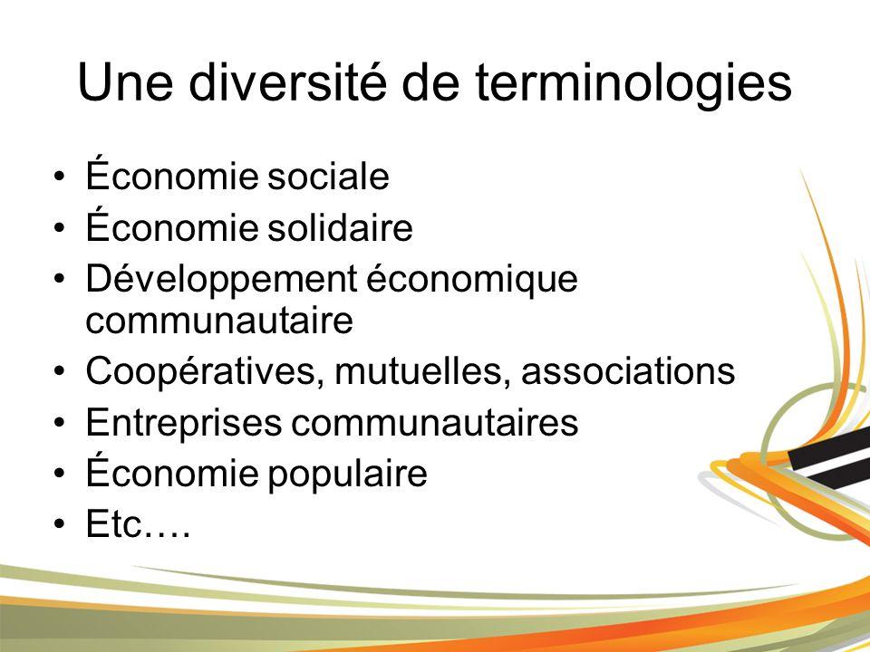 Une diversité de terminologies Économie sociale Économie solidaire Développement économique communautaire Coopératives, mutuelles, associations Entreprises communautaires Économie populaire Etc….