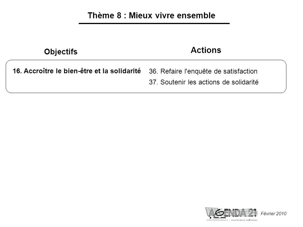 Février 2010 Thème 8 : Mieux vivre ensemble Objectifs 16.