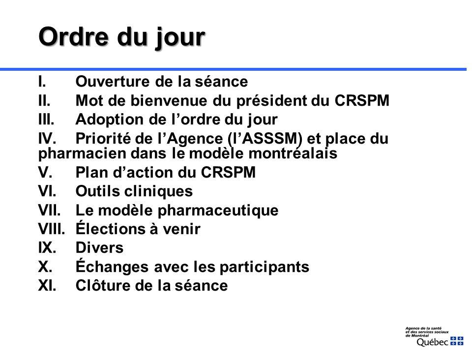 Membres du CRSPM Monsieur Jean-François Morin Président du CRSPM Pharmacien propriétaire Madame Cécile Lecours Vice-présidente du CRSPM Chef de départ