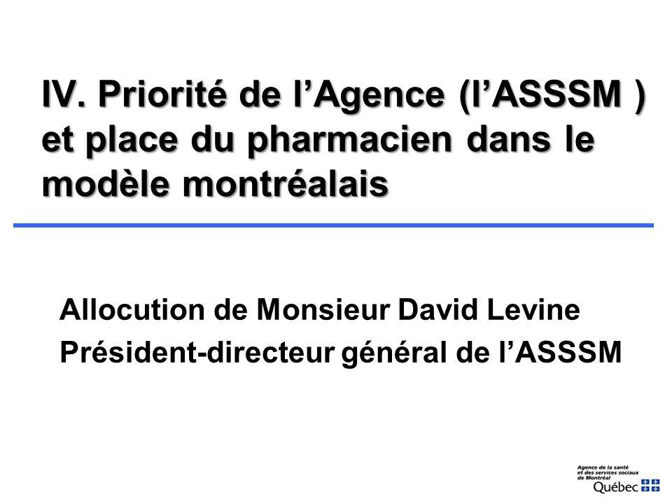 Ordre du jour I.Ouverture de la séance II.Mot de bienvenue du président du CRSPM III.Adoption de lordre du jour IV.Priorité de lAgence (lASSSM) et pla