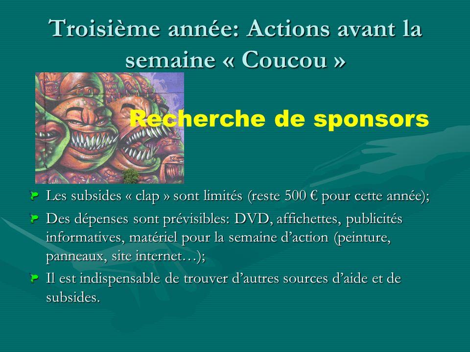 Troisième année: Actions avant la semaine « Coucou » Sensibilisation des écoles et associations à laction « nettoyage » Organisation de groupes de par