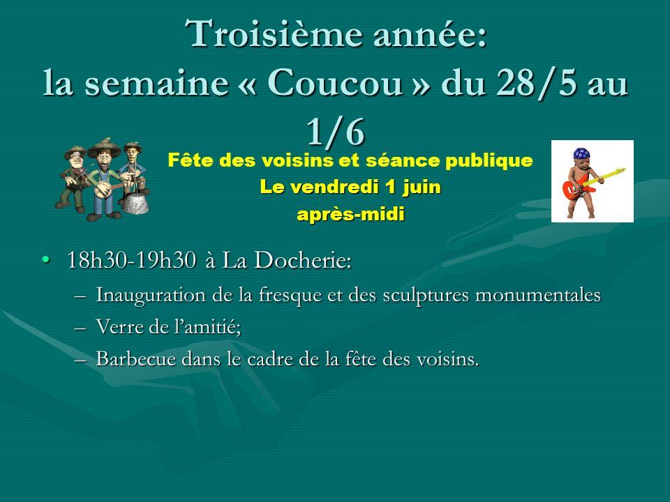 Troisième année: la semaine « Coucou » du 28/5 au 1/6 16h30-18h00 à la Maison pour Associations: –Présentation de la vidéo « les Xperts » –Présentatio