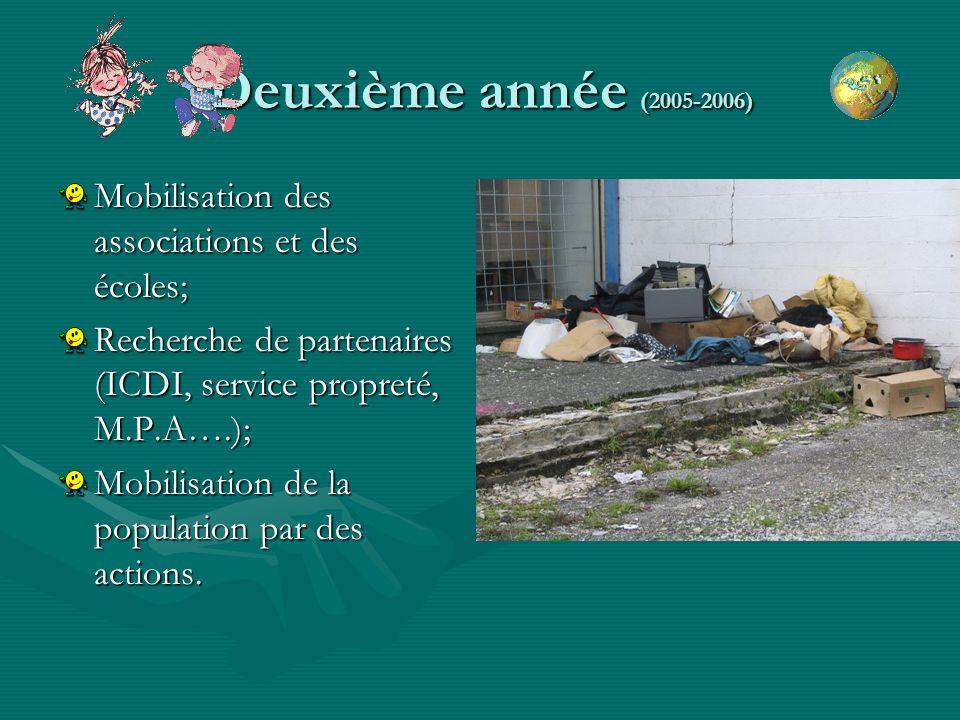 Deuxième année (2005-2006) Mobilisation des associations et des écoles; Recherche de partenaires (ICDI, service propreté, M.P.A….); Mobilisation de la population par des actions.