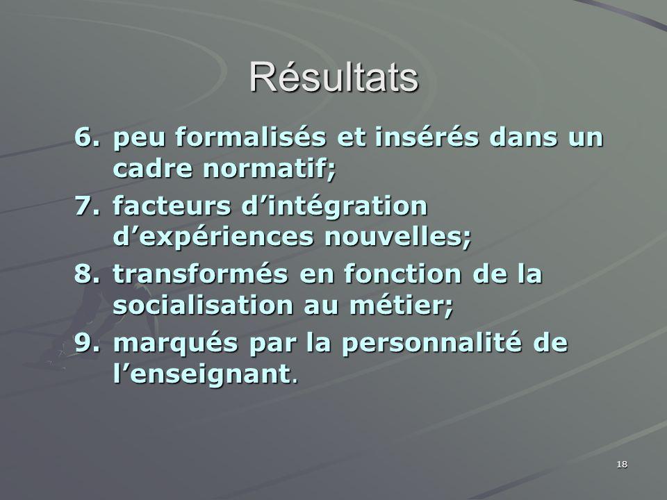 18 Résultats 6.peu formalisés et insérés dans un cadre normatif; 7.facteurs dintégration dexpériences nouvelles; 8.transformés en fonction de la socia
