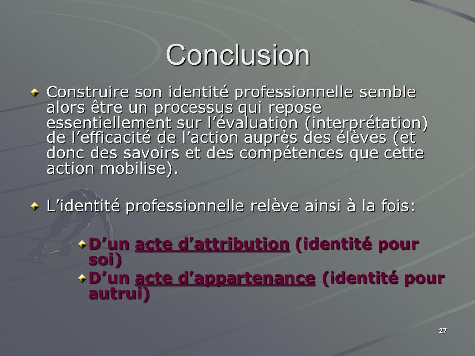 27 Conclusion Construire son identité professionnelle semble alors être un processus qui repose essentiellement sur lévaluation (interprétation) de le