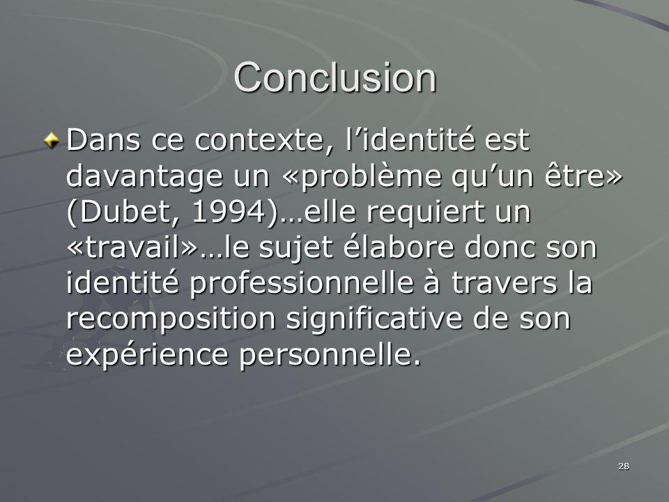 28 Conclusion Dans ce contexte, lidentité est davantage un «problème quun être» (Dubet, 1994)…elle requiert un «travail»…le sujet élabore donc son ide