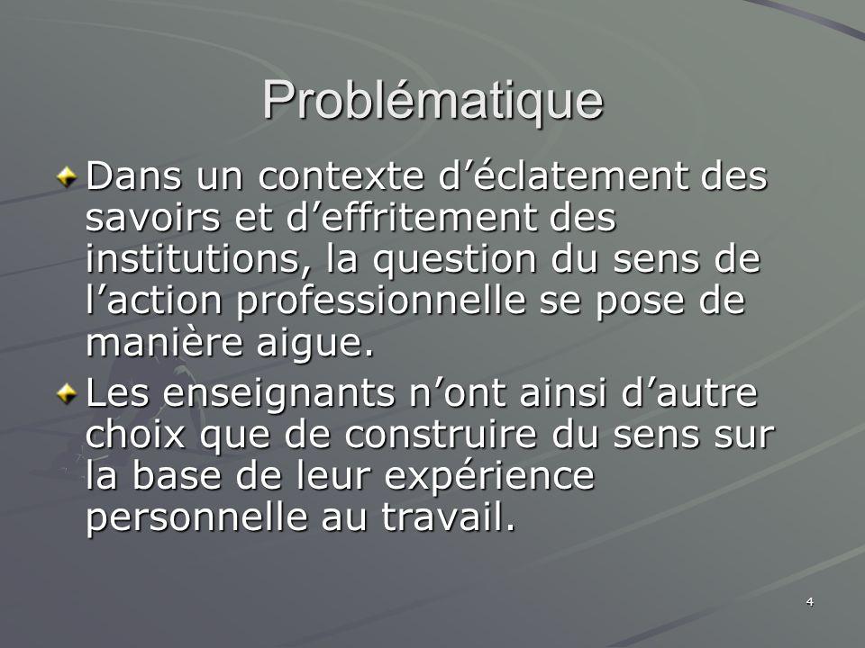 4 Problématique Dans un contexte déclatement des savoirs et deffritement des institutions, la question du sens de laction professionnelle se pose de m