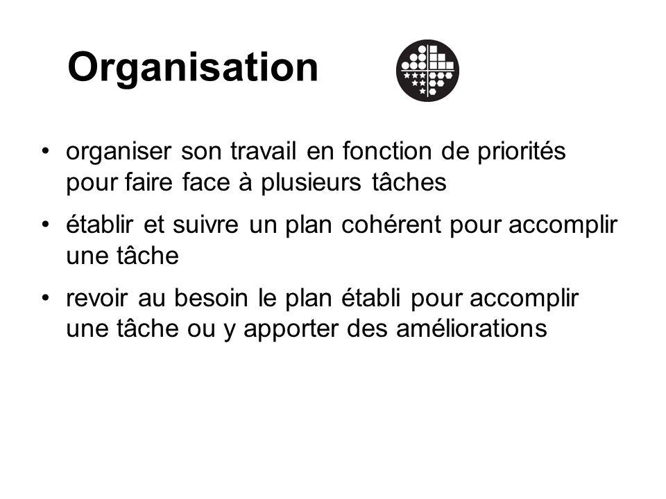 Organisation organiser son travail en fonction de priorités pour faire face à plusieurs tâches établir et suivre un plan cohérent pour accomplir une tâche revoir au besoin le plan établi pour accomplir une tâche ou y apporter des améliorations
