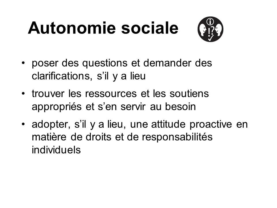 Autonomie sociale poser des questions et demander des clarifications, sil y a lieu trouver les ressources et les soutiens appropriés et sen servir au besoin adopter, sil y a lieu, une attitude proactive en matière de droits et de responsabilités individuels