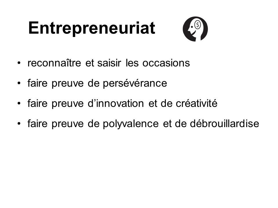 Entrepreneuriat reconnaître et saisir les occasions faire preuve de persévérance faire preuve dinnovation et de créativité faire preuve de polyvalence et de débrouillardise
