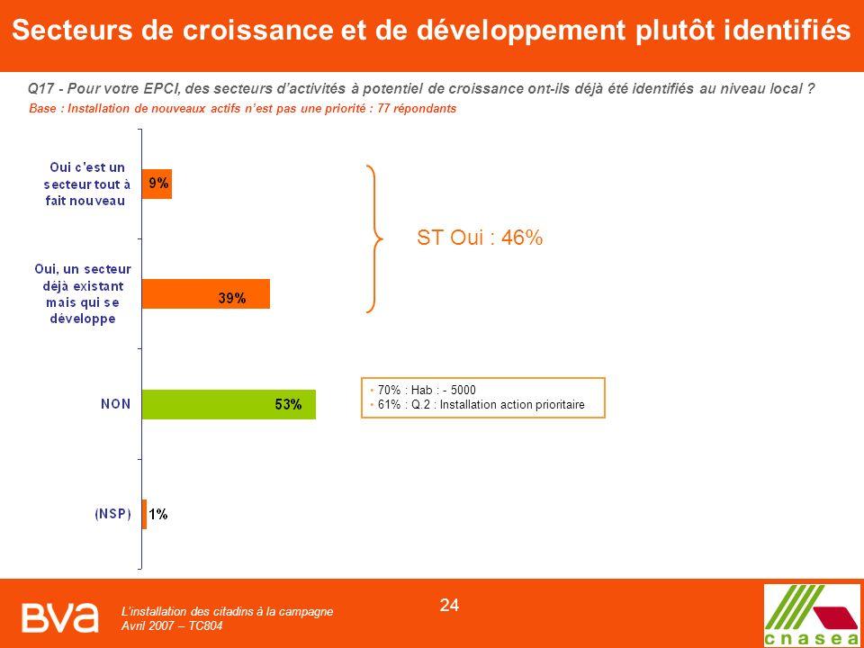 Linstallation des citadins à la campagne Avril 2007 – TC804 24 Q17 - Pour votre EPCI, des secteurs dactivités à potentiel de croissance ont-ils déjà été identifiés au niveau local .