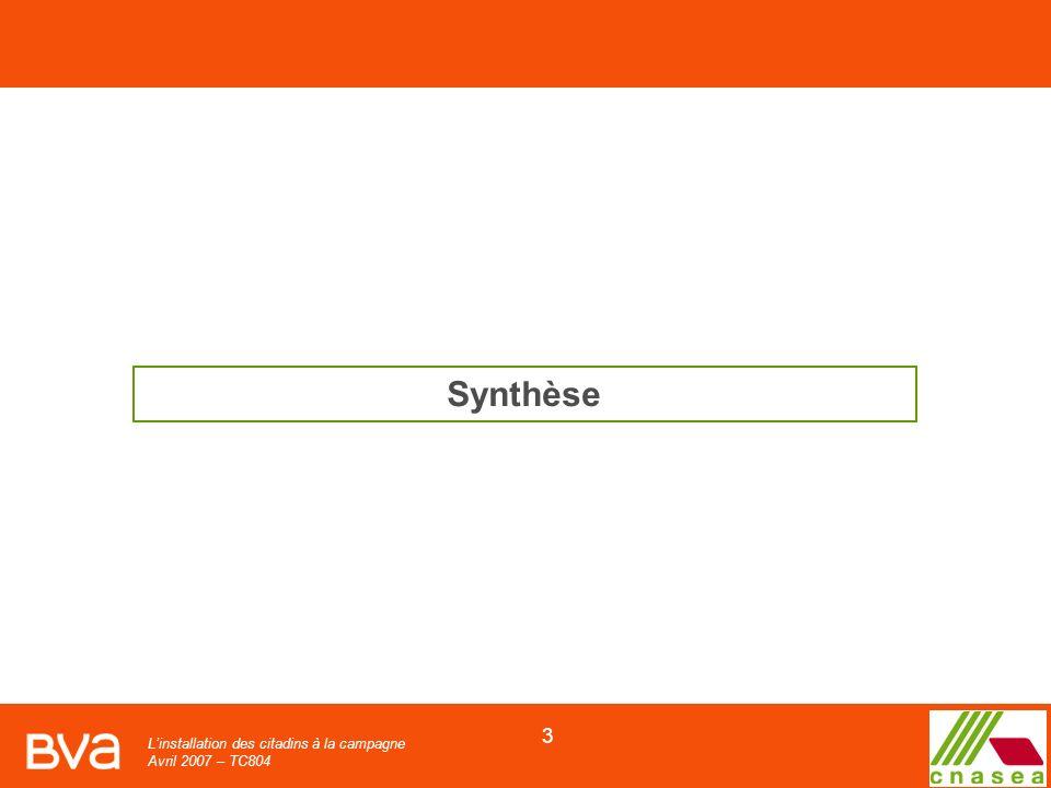Linstallation des citadins à la campagne Avril 2007 – TC804 3 Synthèse