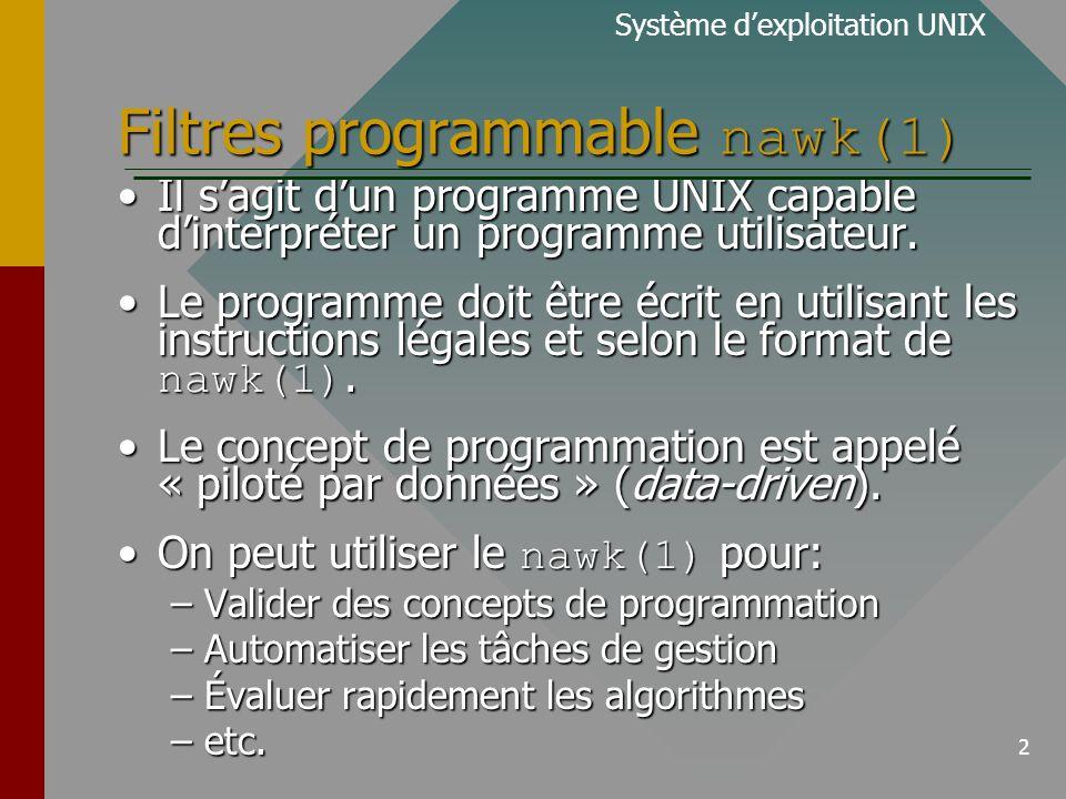 13 Activités de traitement (1) Système dexploitation UNIX Voici les activités réalisées par nawk(1) lors de lexécution dun programme utilisateur.