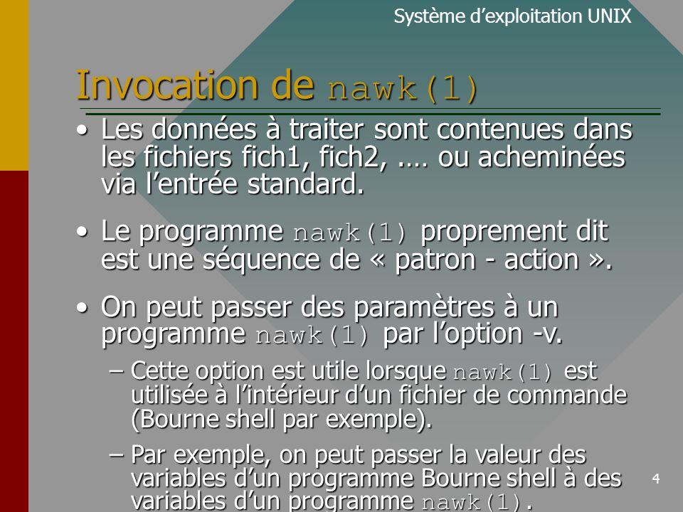 5 Filtres programmable nawk(1) Son principe de fonctionnement:Son principe de fonctionnement: Système dexploitation UNIX