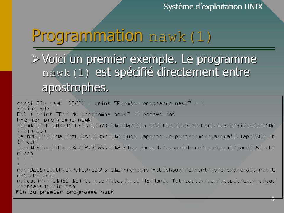 6 Programmation nawk(1) Système dexploitation UNIX Voici un premier exemple.