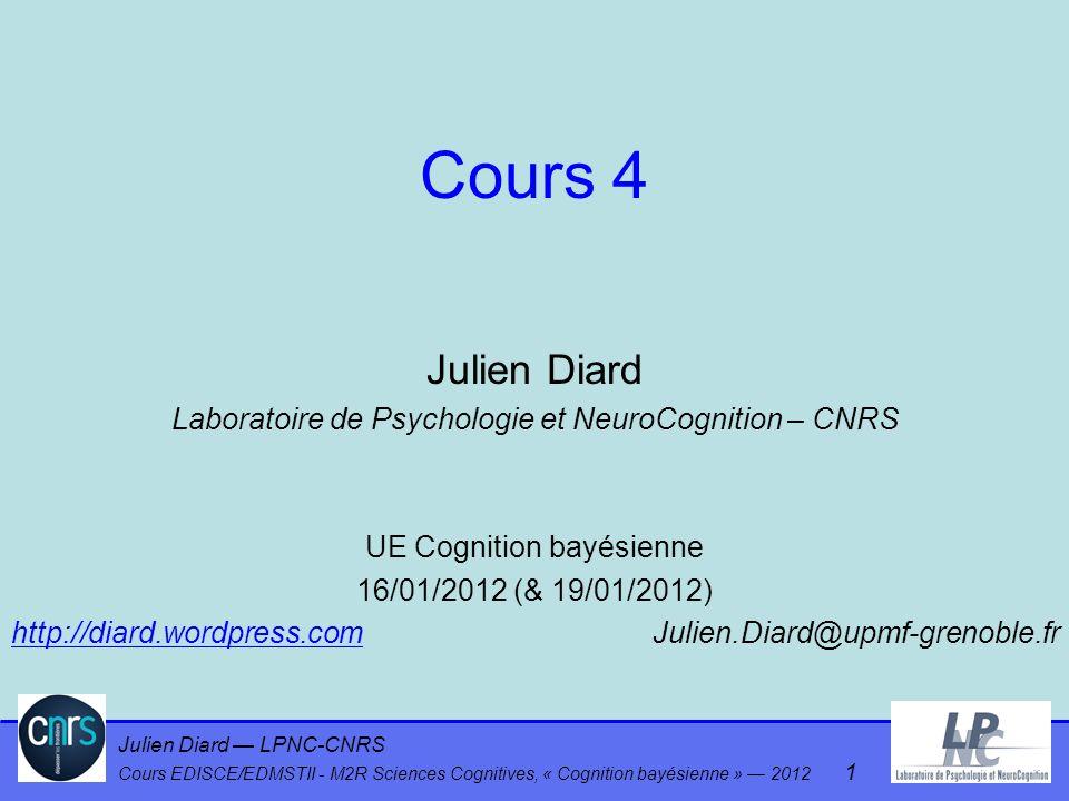 Julien Diard LPNC-CNRS Cours EDISCE/EDMSTII - M2R Sciences Cognitives, « Cognition bayésienne » 2012 62 Sommation / tirage P(A B C) = P(A) P(B   A) P(C   B) Inférence de P(C   A) A B C Inférence exacte : sommation Inférence approximée: tirage Tirer b selon P(B   [A=a]) Tirer c selon P(C   [B=b]) Propagation des incertitudes Sommation « dictée » par le formalisme, pas par le modèle !