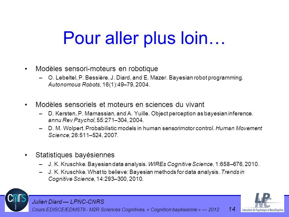 Julien Diard LPNC-CNRS Cours EDISCE/EDMSTII - M2R Sciences Cognitives, « Cognition bayésienne » 2012 14 Pour aller plus loin… Modèles sensori-moteurs
