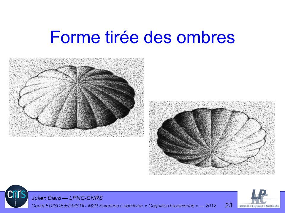 Julien Diard LPNC-CNRS Cours EDISCE/EDMSTII - M2R Sciences Cognitives, « Cognition bayésienne » 2012 23 Forme tirée des ombres