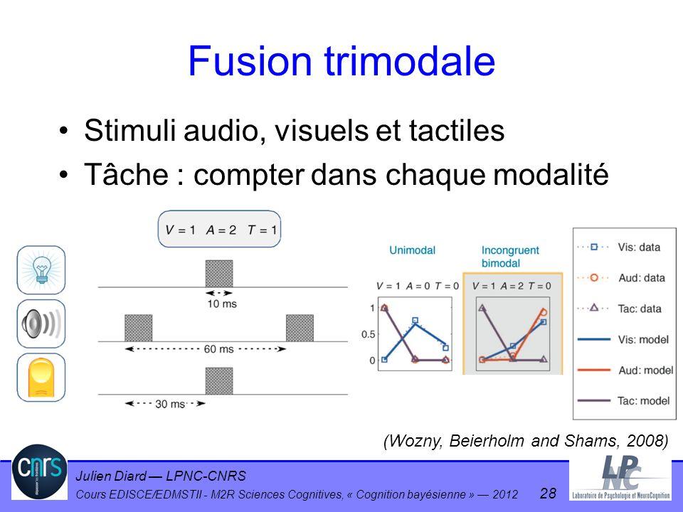 Julien Diard LPNC-CNRS Cours EDISCE/EDMSTII - M2R Sciences Cognitives, « Cognition bayésienne » 2012 28 Fusion trimodale Stimuli audio, visuels et tac