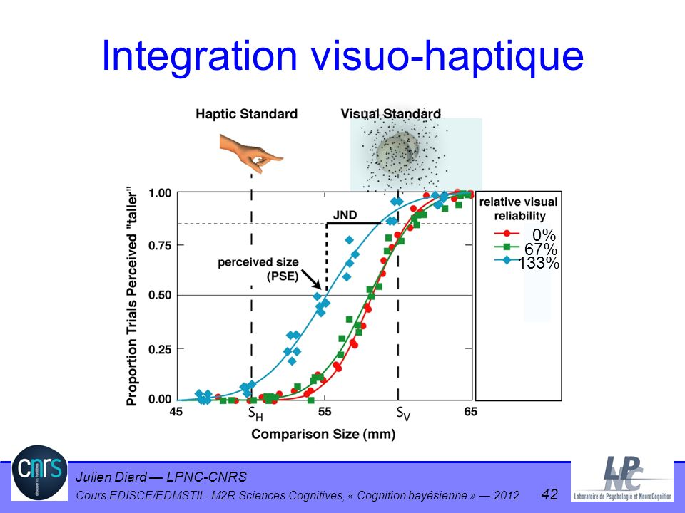 Julien Diard LPNC-CNRS Cours EDISCE/EDMSTII - M2R Sciences Cognitives, « Cognition bayésienne » 2012 42 0% 67% 133% Integration visuo-haptique