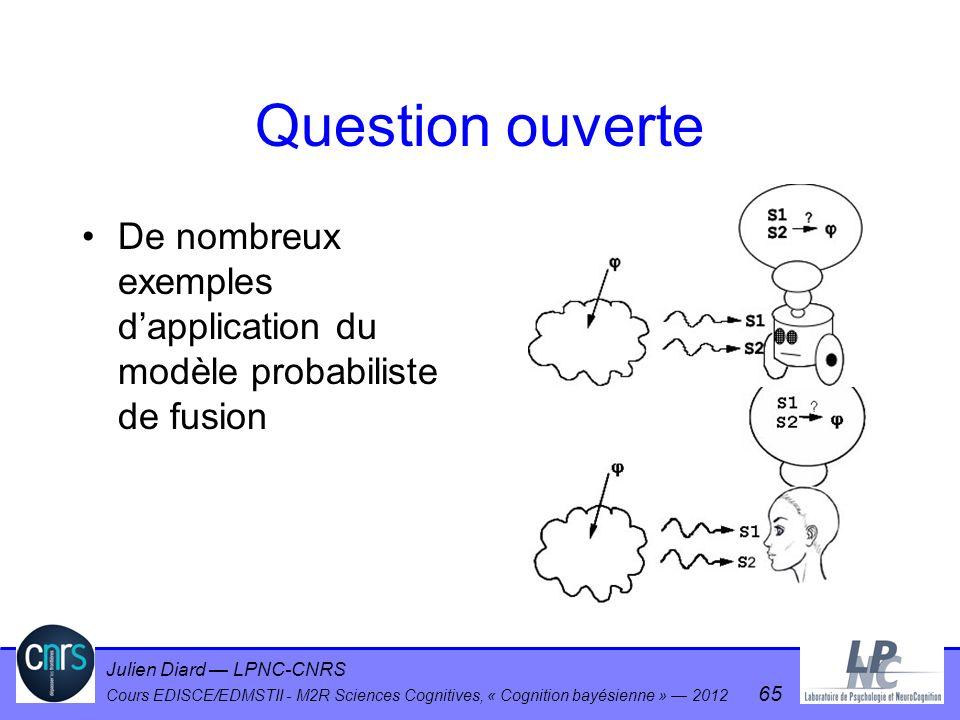 Julien Diard LPNC-CNRS Cours EDISCE/EDMSTII - M2R Sciences Cognitives, « Cognition bayésienne » 2012 65 Question ouverte De nombreux exemples dapplica
