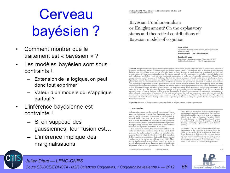 Julien Diard LPNC-CNRS Cours EDISCE/EDMSTII - M2R Sciences Cognitives, « Cognition bayésienne » 2012 66 Cerveau bayésien ? Comment montrer que le trai