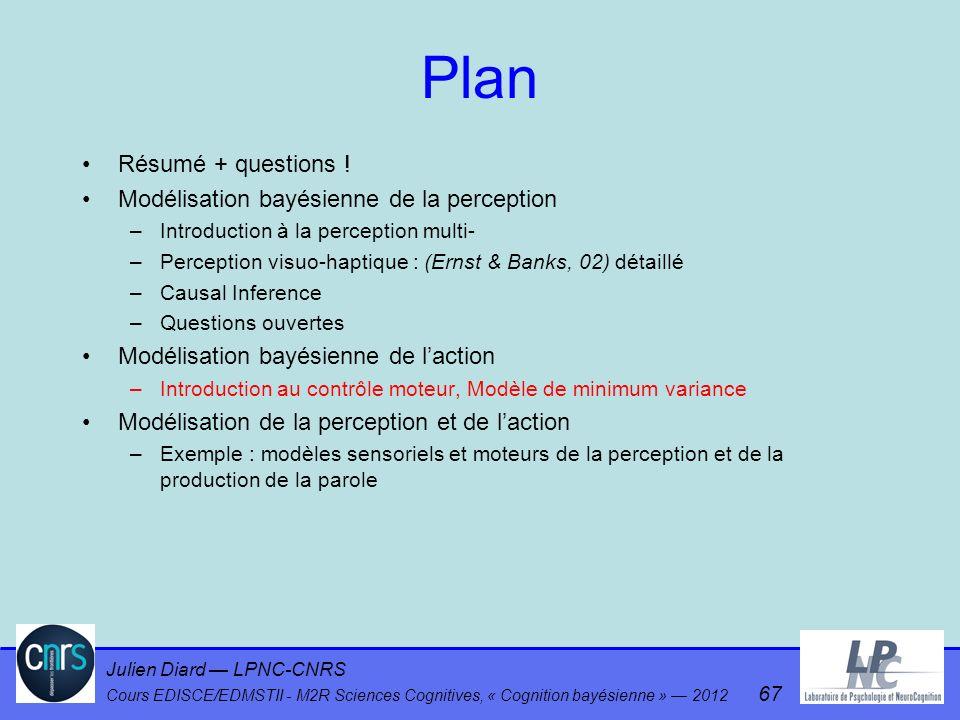 Julien Diard LPNC-CNRS Cours EDISCE/EDMSTII - M2R Sciences Cognitives, « Cognition bayésienne » 2012 67 Plan Résumé + questions ! Modélisation bayésie