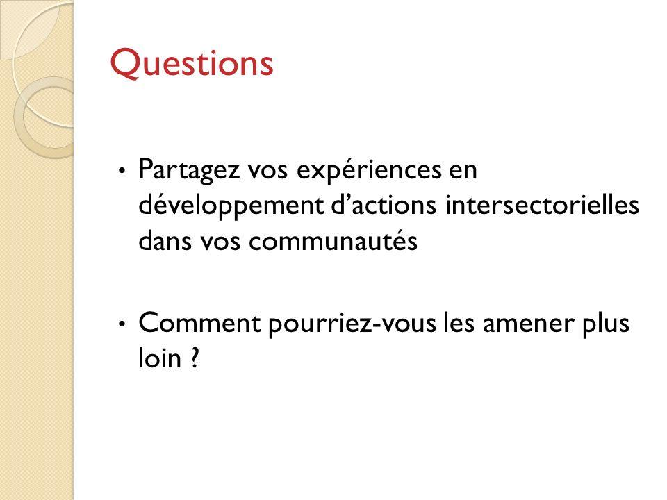 Questions Partagez vos expériences en développement dactions intersectorielles dans vos communautés Comment pourriez-vous les amener plus loin ?