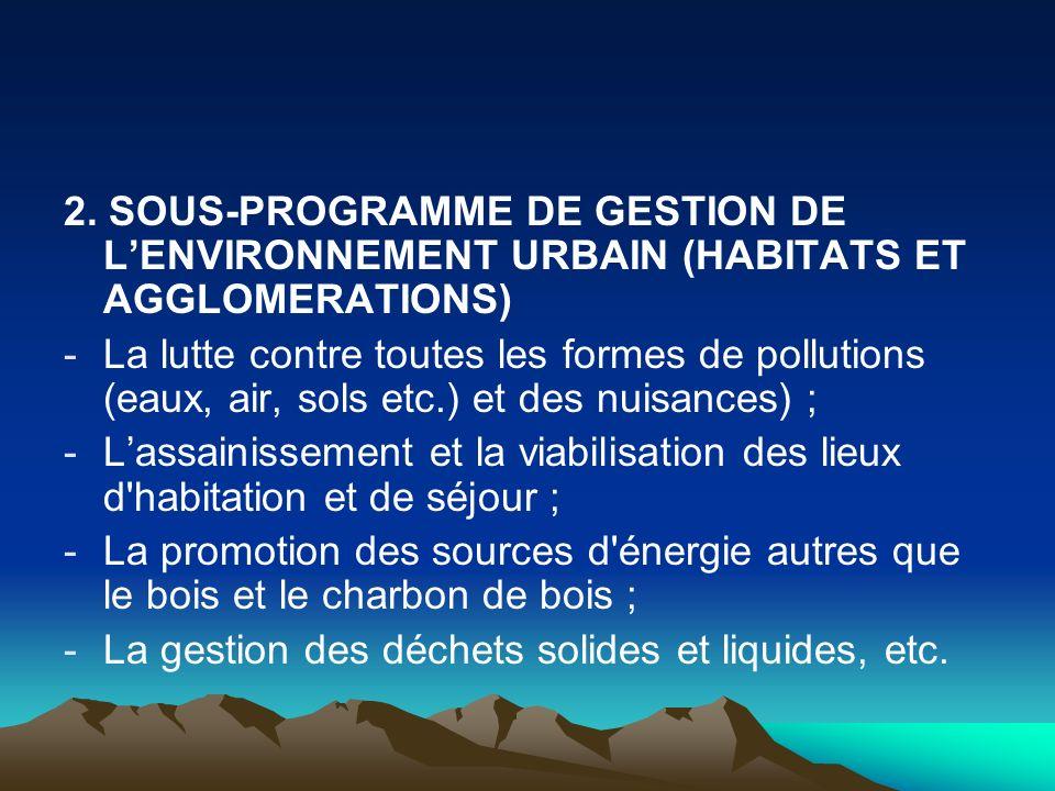 2. SOUS-PROGRAMME DE GESTION DE LENVIRONNEMENT URBAIN (HABITATS ET AGGLOMERATIONS) -La lutte contre toutes les formes de pollutions (eaux, air, sols e