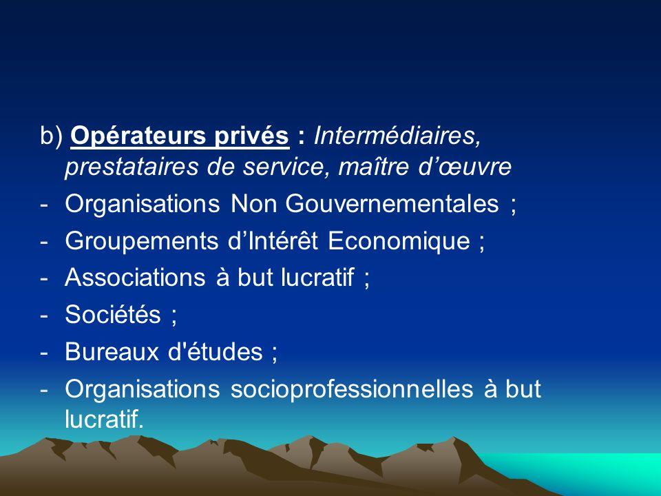b) Opérateurs privés : Intermédiaires, prestataires de service, maître dœuvre -Organisations Non Gouvernementales ; -Groupements dIntérêt Economique ;