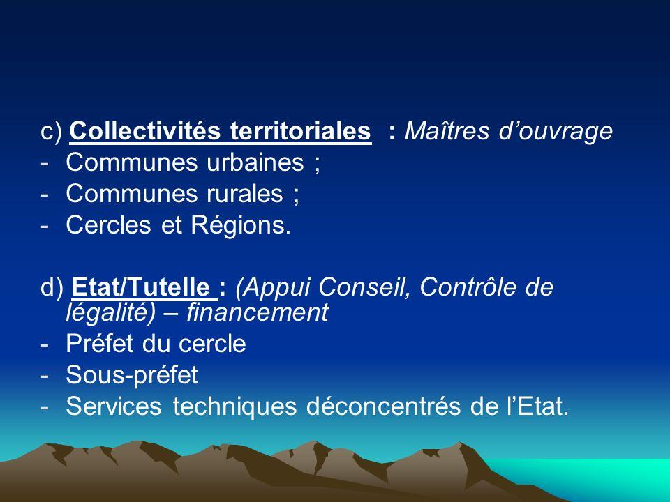 c) Collectivités territoriales : Maîtres douvrage -Communes urbaines ; -Communes rurales ; -Cercles et Régions. d) Etat/Tutelle : (Appui Conseil, Cont
