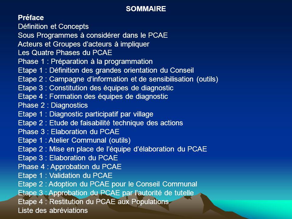 SOMMAIRE Préface Définition et Concepts Sous Programmes à considérer dans le PCAE Acteurs et Groupes dacteurs à impliquer Les Quatre Phases du PCAE Ph