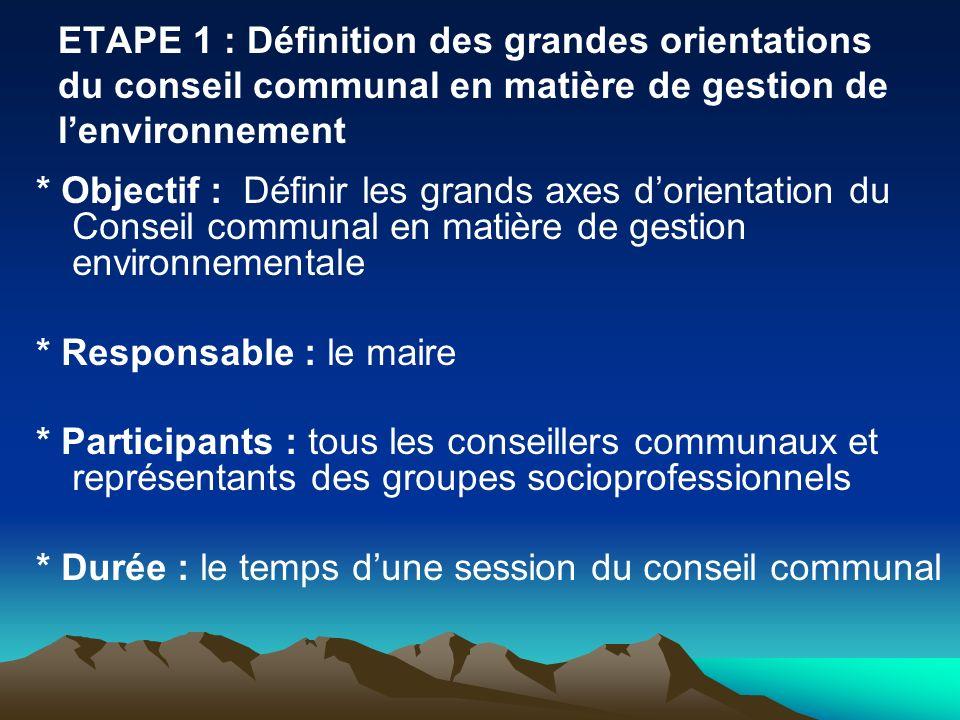 ETAPE 1 : Définition des grandes orientations du conseil communal en matière de gestion de lenvironnement * Objectif : Définir les grands axes dorient