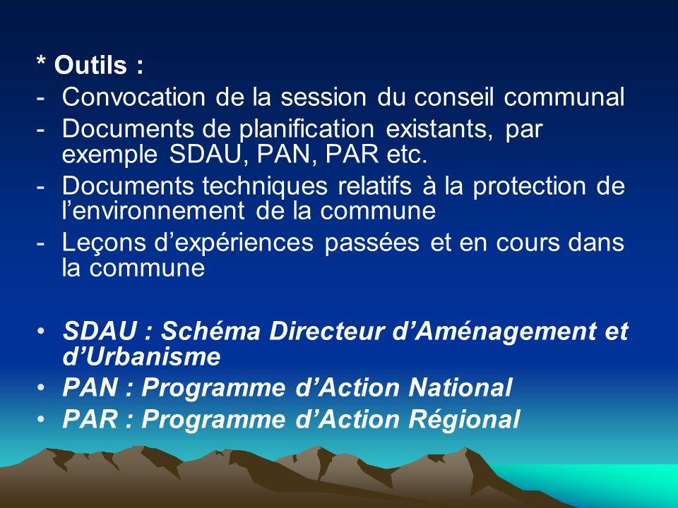 * Outils : -Convocation de la session du conseil communal -Documents de planification existants, par exemple SDAU, PAN, PAR etc. -Documents techniques