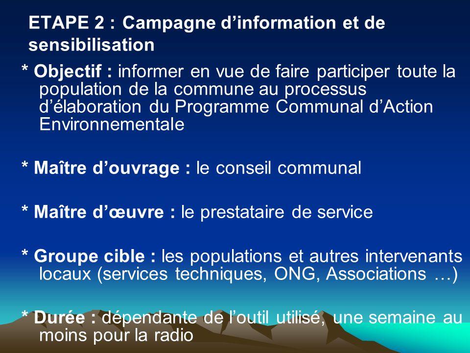 ETAPE 2 :Campagne dinformation et de sensibilisation * Objectif : informer en vue de faire participer toute la population de la commune au processus d