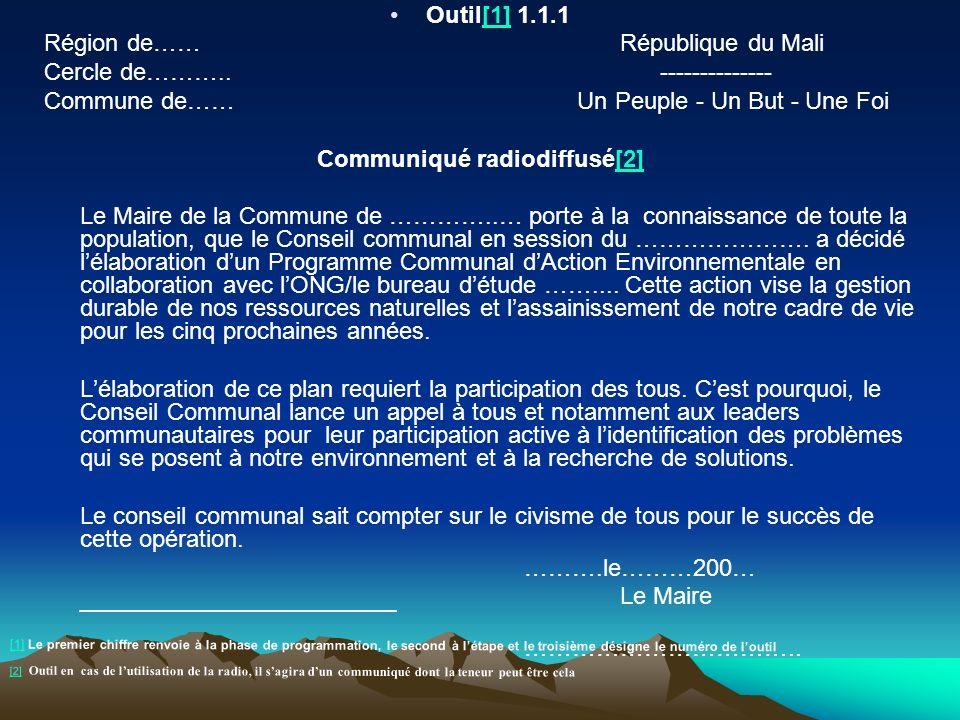 Outil[1] 1.1.1[1] Région de…… République du Mali Cercle de……….. -------------- Commune de…… Un Peuple - Un But - Une Foi Communiqué radiodiffusé[2][2]