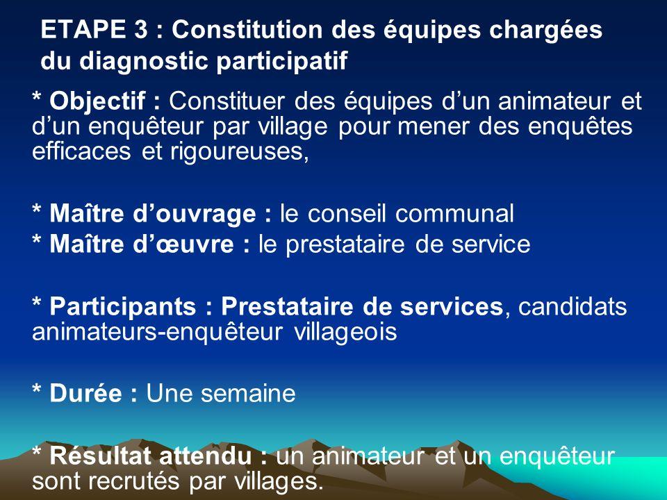 ETAPE 3 : Constitution des équipes chargées du diagnostic participatif * Objectif : Constituer des équipes dun animateur et dun enquêteur par village