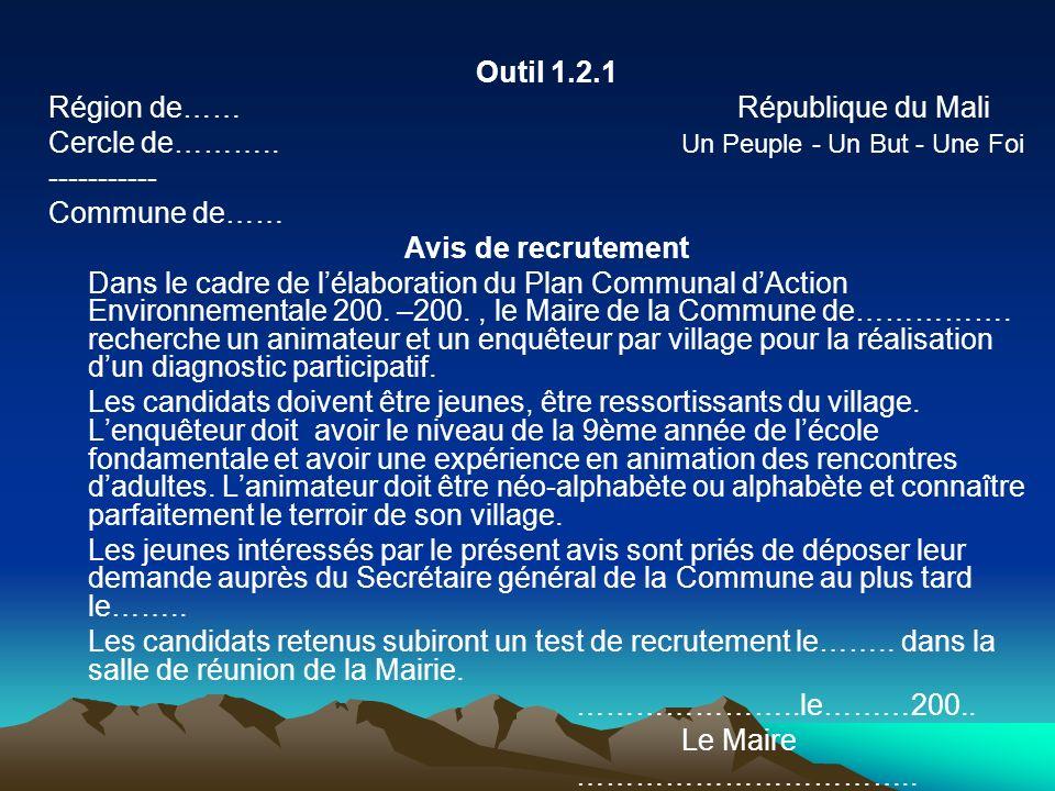 Outil 1.2.1 Région de…… République du Mali Cercle de……….. Un Peuple - Un But - Une Foi ----------- Commune de…… Avis de recrutement Dans le cadre de l