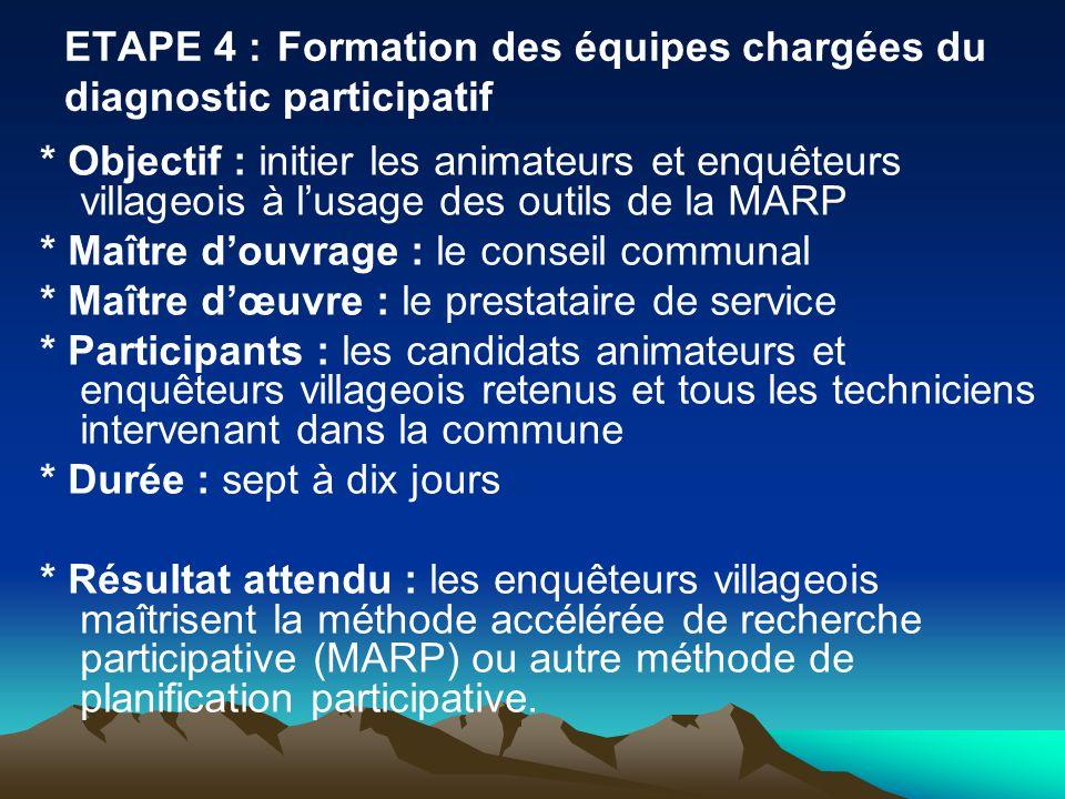ETAPE 4 :Formation des équipes chargées du diagnostic participatif * Objectif : initier les animateurs et enquêteurs villageois à lusage des outils de