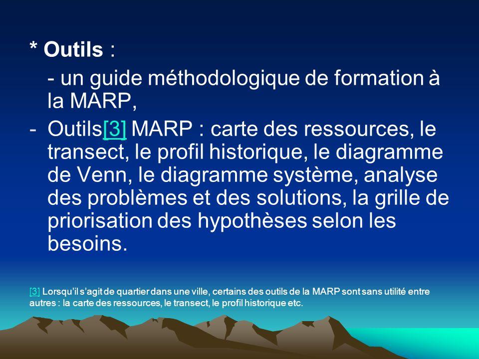 * Outils : - un guide méthodologique de formation à la MARP, -Outils[3] MARP : carte des ressources, le transect, le profil historique, le diagramme d