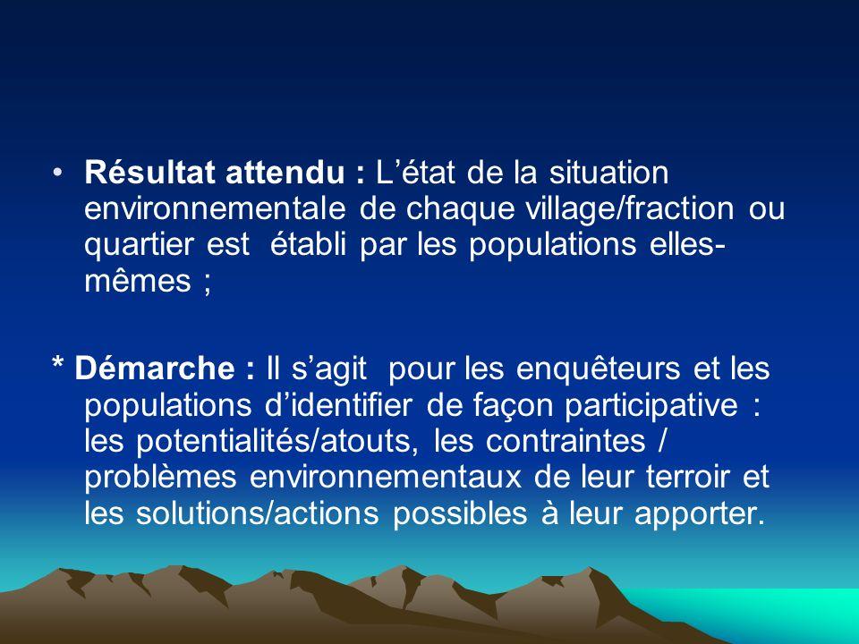 Résultat attendu : Létat de la situation environnementale de chaque village/fraction ou quartier est établi par les populations elles- mêmes ; * Démar