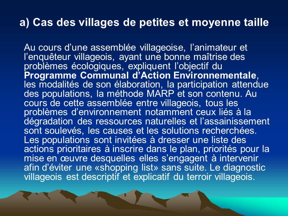 a) Cas des villages de petites et moyenne taille Au cours dune assemblée villageoise, lanimateur et lenquêteur villageois, ayant une bonne maîtrise de