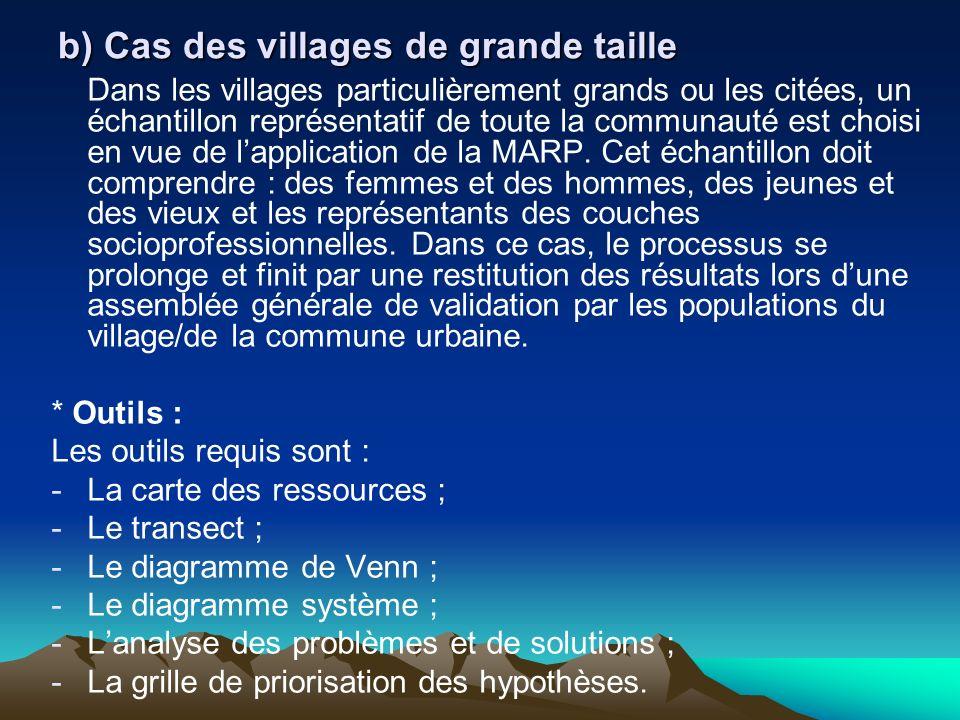 b) Cas des villages de grande taille Dans les villages particulièrement grands ou les citées, un échantillon représentatif de toute la communauté est