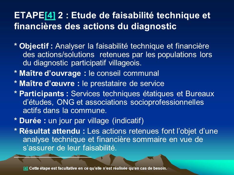 ETAPE[4] 2 : Etude de faisabilité technique et financières des actions du diagnostic[4] * Objectif : Analyser la faisabilité technique et financière d