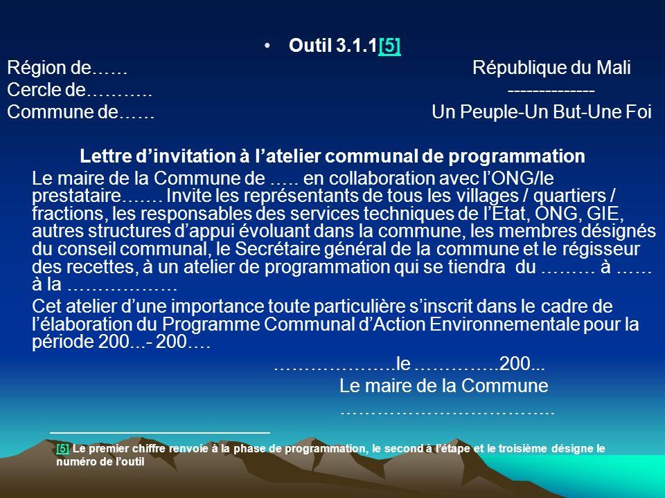 Outil 3.1.1[5][5] Région de…… République du Mali Cercle de……….. -------------- Commune de…… Un Peuple-Un But-Une Foi Lettre dinvitation à latelier com